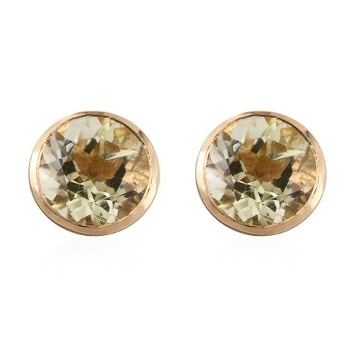 Brazilian Green Gold Quartz (Rnd) Stud Earrings (with Push Back) in 14K Gold Overlay Sterling Silver 3.500 Ct.