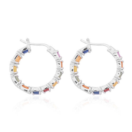 Rainbow Sapphire Hoop Earrings (with Clasp) in Rhodium Plated Sterling Silver 5.500 Ct.