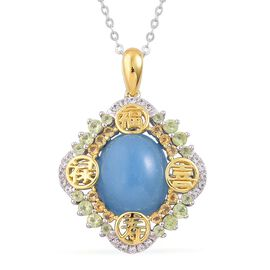 Blue Jade (Ovl 6.00 Ct), Hebei Peridot, Brazilian Citrine and White Topaz Pendant With Chain in Platinum and Yellow Gold Overlay Sterling Silver 6.650 Ct.