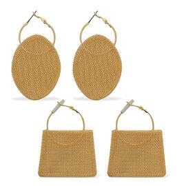 Set of 2 - Mesh Hoop Earrings in Gold Tone