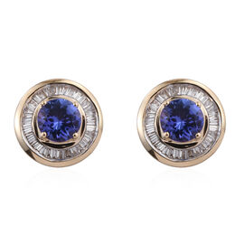ILIANA 18K Y Gold AAA Tanzanite (Rnd), Diamond Stud Earrings (with Screw Back) 1.750 Ct.
