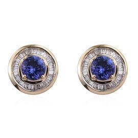 ILIANA 18K Y Gold AAA Tanzanite (Rnd), Diamond Stud Earrings 1.750 Ct.