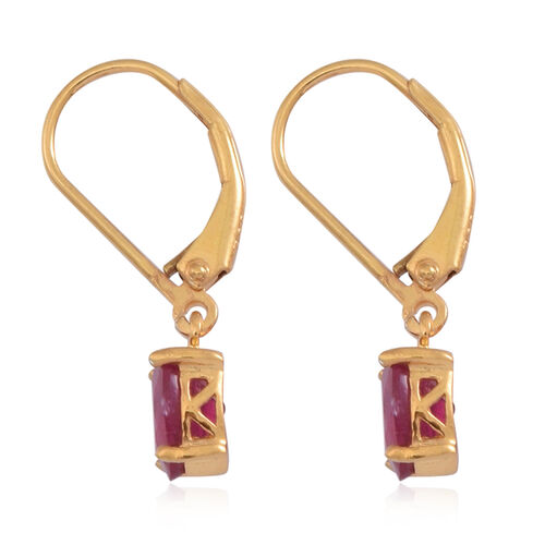 African Ruby (Ovl) Lever Back Earrings in 14K Gold Overlay Sterling Silver 2.250 Ct.