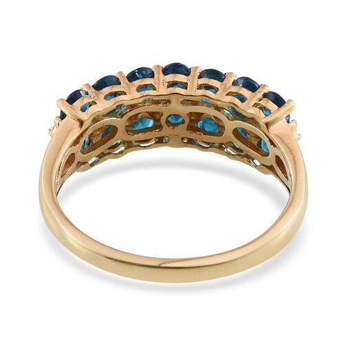 Malgache Neon Apatite (Ovl), Diamond Ring in 14K Gold Overlay Sterling Silver 2.515 Ct.