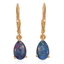 Australian Boulder Opal (Pear) Lever Back Earrings in 14K Gold Overlay Sterling Silver 2.000 Ct.