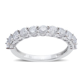 9K W Gold SGL Certified Diamond (Rnd) (I3/G-H) Half Eternity Ring 1.000 Ct.