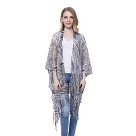New For Season -Black and White Colour Leopard Pattern Poncho with Fringes (Size 110x80 Cm)