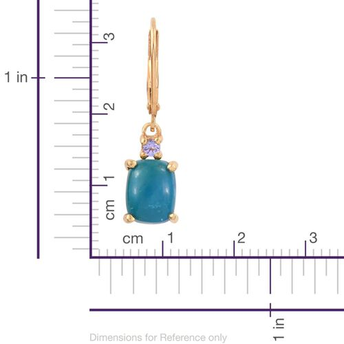 Opalina (Cush), Tanzanite Lever Back Earrings in 14K Gold Overlay Sterling Silver 4.000 Ct.