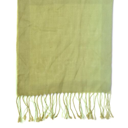 100% Wool Light and Dark Green Colour Scarf with Fringes (Size 180x70 Cm)