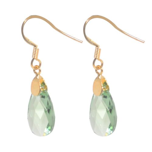 J Francis Crystal from Swarovski - Peridot Colour Crystal (Pear) Hook Earrings in Yellow Gold Overlay Sterling Silver