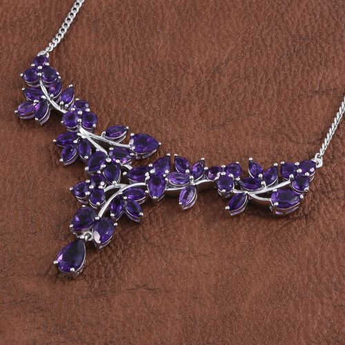 Amethyst (Pear 1.00 Ct) Necklace (Size 18) in Platinum Overlay Sterling Silver 14.500 Ct.
