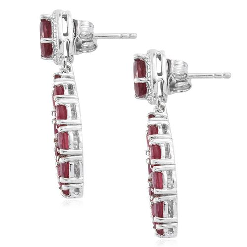 Limited Edition - African Ruby (Ovl) Earrings (with Push Back) in Platinum Overlay Sterling Silver 6.750 Ct.