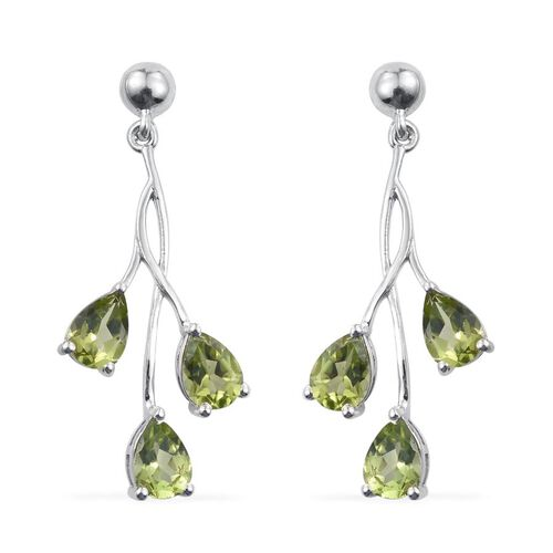 AA Hebei Peridot (Pear) Earrings (with Push Back) in Platinum Overlay Sterling Silver 4.250 Ct.