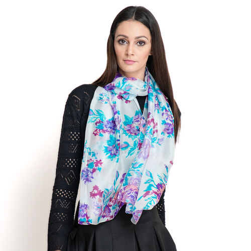 SILK MARK - Made in Kashmir 100% Mulberry Silk Blue and Multi Colour Floral Pattern White Colour Scarf (Size 170x50 Cm)