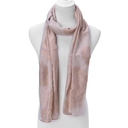 Floral Pattern Chocolate and White Colour Scarf ( Size 180x80 Cm)