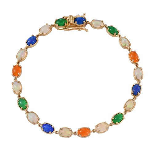Ethiopian Welo Opal (Ovl), Orange, Green and Blue Ethiopian Opal Bracelet (Size 7.5) in 14K Gold Overlay Sterling Silver 6.250 Ct.