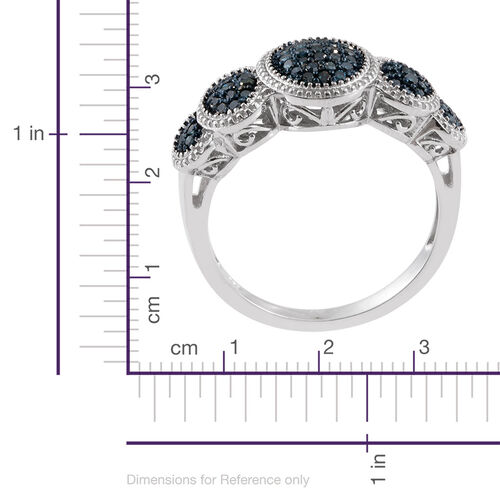 Diamond Platinum Overlay Sterling Silver Ring  0.500  Ct.