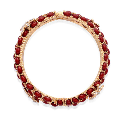 White Austrian Crystal and Simulated Red Stone Bangle (Size 7.50) and Cluster Ring in Gold Tone