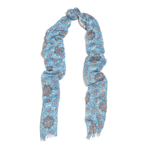 Blue and Multi Colour Floral Pattern Scarf (Size 180x70 Cm) with Matching Set of 5 Bangles (Size 8) in Gold Tone