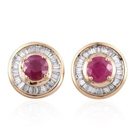ILIANA 18K Y Gold Burmese Ruby (Rnd), Diamond Stud Earrings (with Screw Back) 1.500 Ct.