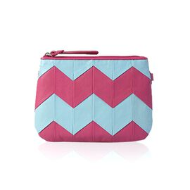 Genuine Leather Zig Zag Pattern Sky Blue and Pink Colour Pouch (Size 18.5x13.5 Cm)