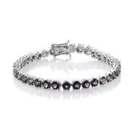 DOD - Northern Lights Mystic Topaz (Rnd) Bracelet (Size 7.5) in Platinum Overlay Sterling Silver 21.000 Ct.