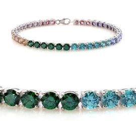 J Francis - Platinum Overlay Sterling Silver (Rnd) Bracelet Made with Blue, Green, Red, Yellow, Mint, Pink and Amethyst SWAROVSKI ZIRCONIA (Size 8) 11.500 Ct.