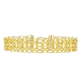 9K Yellow Gold 4 Row Oval Belcher and Bar Bracelet (Size 7.5), Gold wt 6.30 Gms.