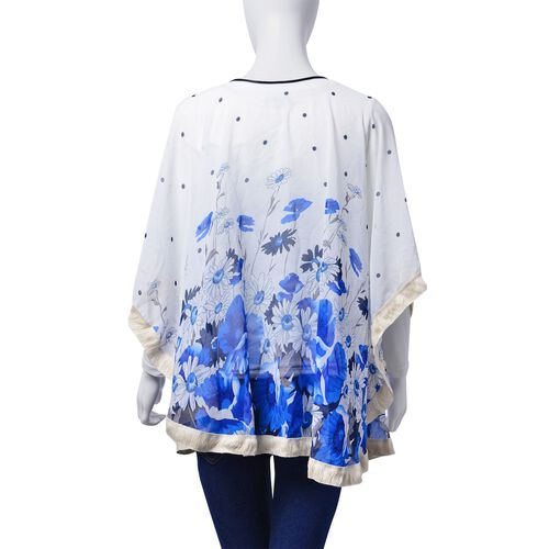 Floral Pattern Blue and White Colour Poncho (Free Size)