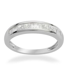 RHAPSODY 950 Platinum IGI Certified Diamond (Sqr) (VS/E-F) Half Eternity Band Ring 0.500 Ct.