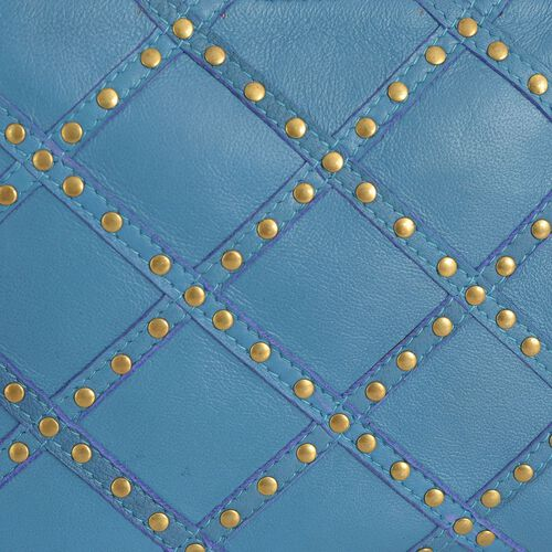 Genuine Leather Blue Colour Handbag with Removable Shoulder Strap (Size 22x17 Cm)