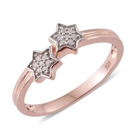 Diamond Silver Twin Star Stacker Ring in Rose Gold Overlay