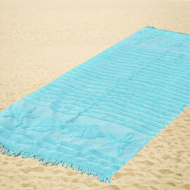 100% Cotton Tufted Shells Beach Blanket Turquoise with Fringes on Both Ends (Size 175x80 Cm)