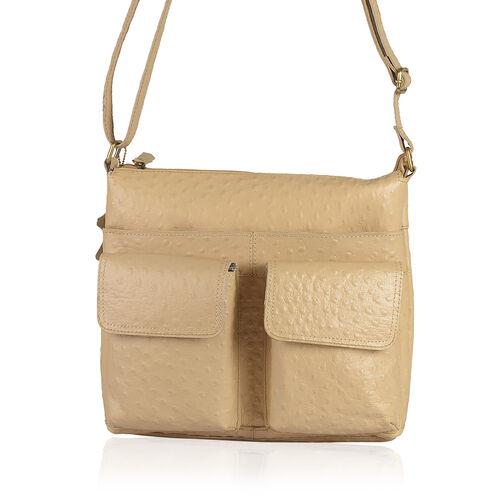 100% Genuine Leather RFID Blocker Ostrich Embossed Cream Colour Sling Bag with External Pockets and Adjustable Shoulder Strap (Size 31X27.5X5 Cm)
