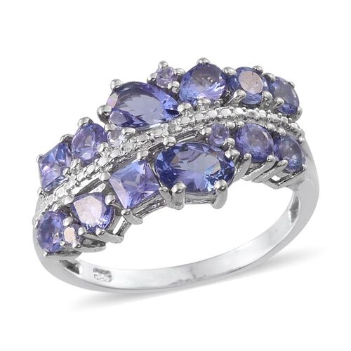 Tanzanite (Ovl 0.50 Ct), Diamond Ring in Platinum Overlay Sterling Silver 2.260 Ct.