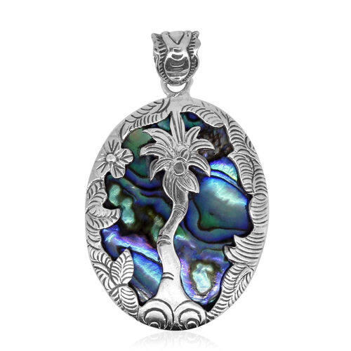 Royal Bali Collection Abalone Shell (Ovl) Palm Tree Pendant in Sterling Silver