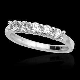 ILIANA 18K W Gold IGI Certified Diamond (Rnd) (SI/ G-H) 5 Stone Ring 0.500 Ct.