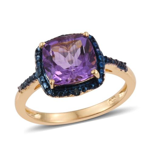 Uruguay Amethyst (Cush), Blue Diamond Ring, Pendant and Stud Earrings (with Push Back) in 14K Gold Overlay Sterling Silver 6.540 Ct.