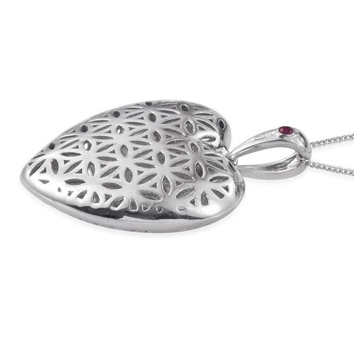 Royal Jaipur Burmese Ruby (Rnd) Heart Pendant With Chain in Platinum Overlay Sterling Silver Silver Wt 11.20g