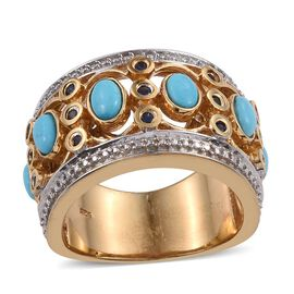 Arizona Sleeping Beauty Turquoise (Ovl), Kanchanaburi Blue Sapphire Ring in 14K Gold Overlay Sterling Silver 1.750 Ct.