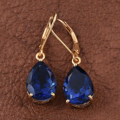 Ceylon Colour Quartz (Pear) Lever Back Earrings in 14K Gold Overlay Sterling Silver 11.500 Ct.