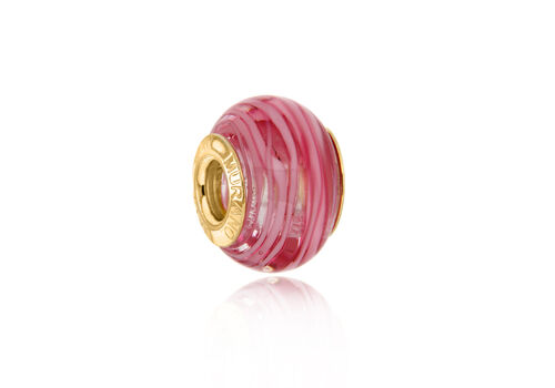 Close Out Deal 9K Y Gold Pink Colour Murano Glass Bead Charm