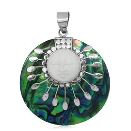 Princess Bali Collection OX Bone Carved Face and  Abalone Shell Pendant in Sterling Silver 36.700 Ct.