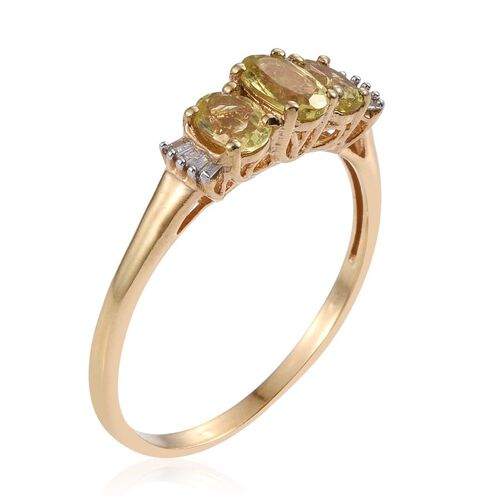 Natural Canary Apatite (Ovl), Diamond Ring in 14K Gold Overlay Sterling Silver 1.250 Ct.