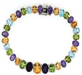 Citrine (Ovl), Hebei Peridot, Amethyst and Sky Blue Topaz Rainbow Bracelet (Size 7) in Rhodium Plated Sterling Silver 33.030 Ct.