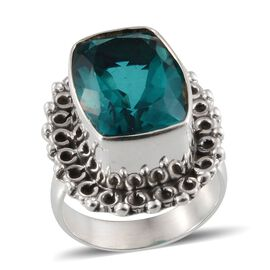 Jewels of India Capri Blue Quartz (Cush) Solitaire Ring in Sterling Silver 10.360 Ct.