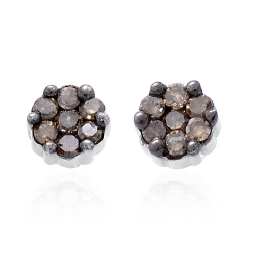 Natural Champagne Diamond (Rnd) Stud Earrings (with Push Back) in Platinum Overlay Sterling Silver 0.150 Ct.