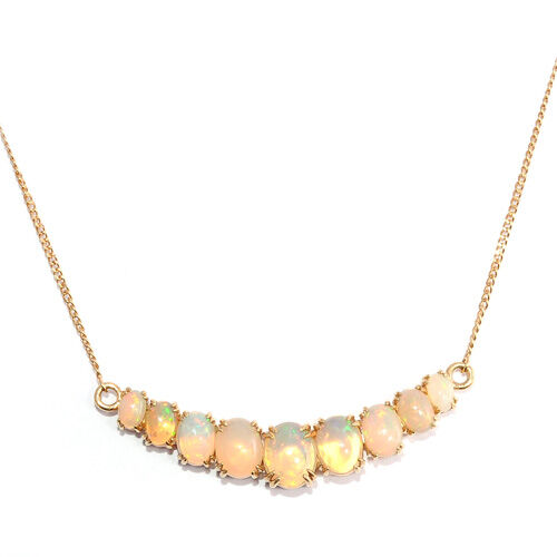 Ethiopian Opal (6.63 Ct) 14K Gold Overlay Sterling Silver Necklace (Size 18.00)