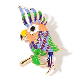 AAA Black Austrian Crystal Multi Colour Enameled Tropical Bird Brooch in Yellow Gold Tone
