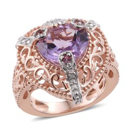 Rose De France Amethyst (Hrt 4.35 Ct), Signity Pink Topaz and Natural Cambodian Zircon Ring in Platinum and Rose Gold Bond 4.500 Ct.